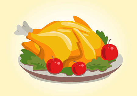 Appetizing Baked Turkey with Greens and Apples 向量圖像