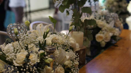 Table Flower Decoration White Rose and Gypsophila