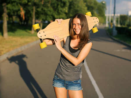 longboard: Girl with longboard