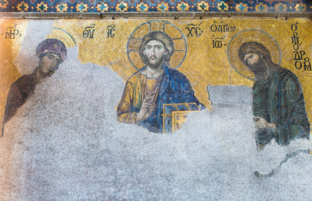 pantocrator: ISTANBUL, TURKEY - MAY 4, 2015: Broken 13th century Deesis Mosaic of Jesus Christ (Christ Pantocrator) flanked by the Virgin Mary and John the Baptist in Hagia Sophia temple in Istanbul, Turkey Editorial