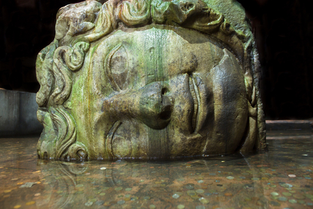 reservoirs: Gorgon Medusa head in Basilica Cistern that is the largest of several hundred ancient water reservoirs