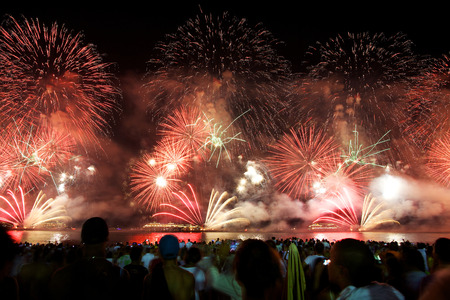 Fireworks display at Copacabana beach new years eve Banco de Imagens