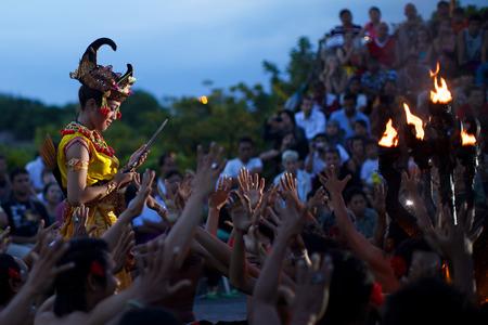kecak: BALI, INDONESIA - JUNE 5: Traditional Balinese Kecak dance at Uluwatu Temple on June 5, 2013, Bali, Indonesia