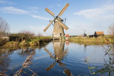 watermanagement: KINDERDIJK, NETHERLANDS - NOVEMBER 22, 2014: windmills in Kinderdijk. The place is one of the best-known Dutch tourist sites
