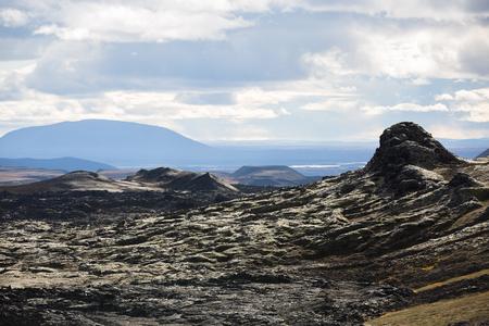 lava field: Lava field in Krafla caldera shine in the front light
