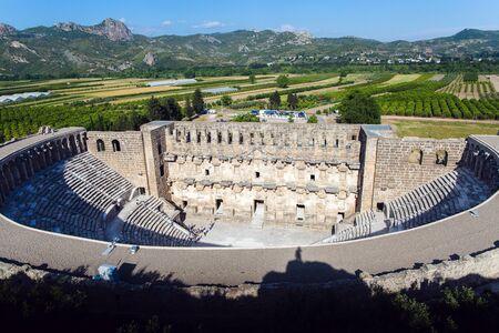roman amphitheater: Roman amphitheater in Aspendos aerial view, Belkiz, Antalya, Turkey