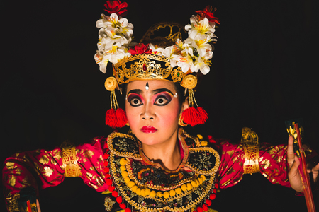 BALI, INDONESIA JUNE 24, 2015: Traditional dance Legong and Barong performed by professional local  actors in Ubud.