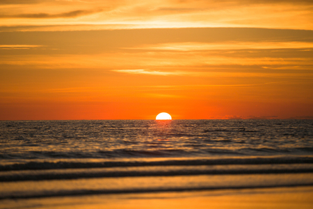 ocean state: Setting sun in ocean above the Florida state, USA. Stock Photo