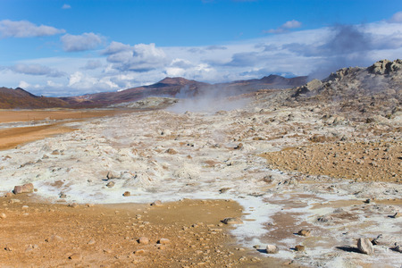 Hot Mud Pots and great landscape in the Geothermal Area Hverir, Iceland.