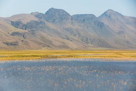 중요한 역사적인 장소이자 인기있는 여행 명소 인 아이슬란드의 틴벨리 평원 스톡 콘텐츠