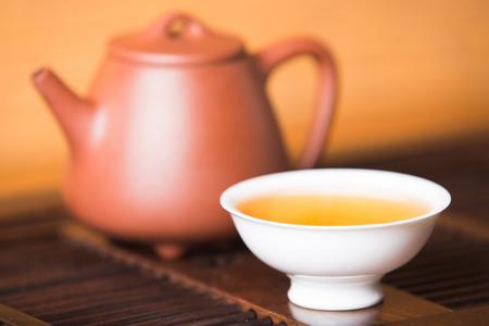Chinese tea set on the tray,Closeup. Фото со стока