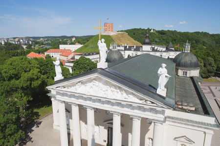 Cathedral and Gediminas Tower on the hill, Vilnius, Lithuania Stock fotó