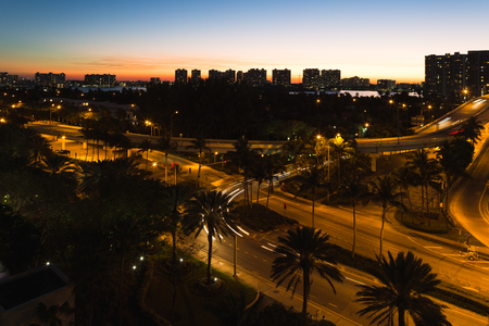 Night view just after sunset in Aventura from Sunny Isles Beach in Florida Stock fotó
