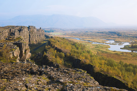 Thingvellir plain in Iceland, an important historic site and a popular travel landmark