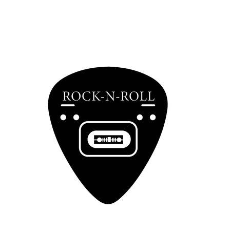 guitar pick guitar rock grunge punk with black pattern on a white background Illustration