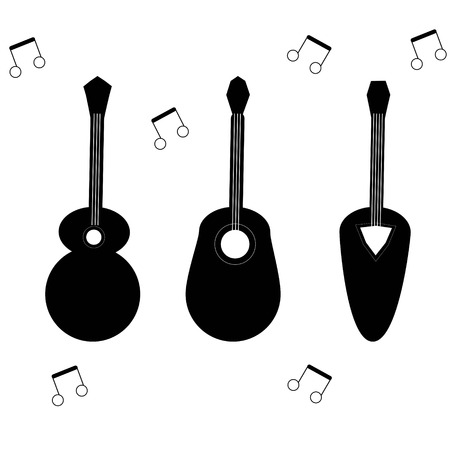 guitars on a white background different designs 3 samples Illustration