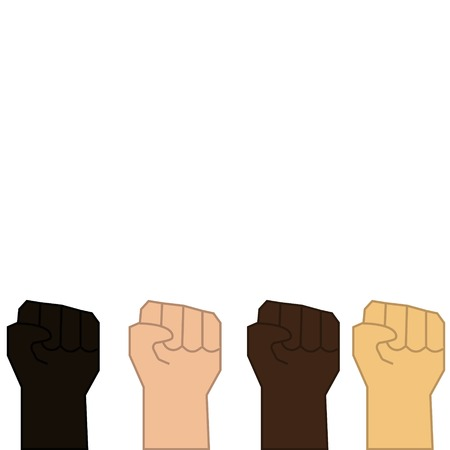 hands raised to the top against racism and discrimination all over the world background