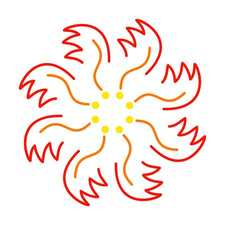 ornament of red-yellow flower or fire phoenix