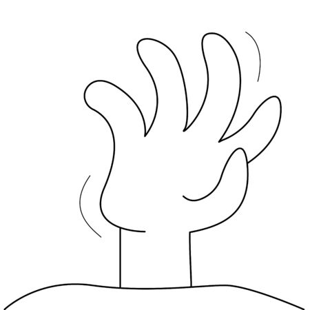 Hand zombie sticking from ground to halloween black line on white background vector illustration