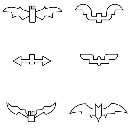 Set bats to halloween black line on white background vector illustration Vecteurs