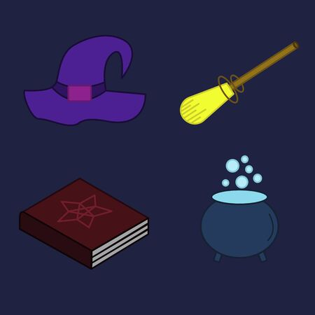 Witch invatar and accessories cap book broom and boiler flash painted isolated vector
