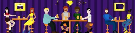 People sit in a bar drinking beer and talking two girlfriends, a company of friends of cheers, a couple of lovers, a philette yellow concept design for website for designers Stock Illustratie
