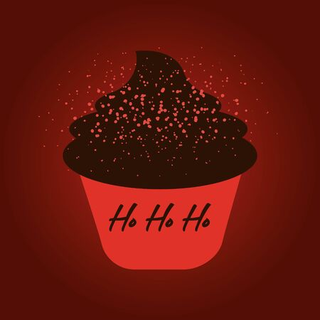 Vector cartoon style illustration of Christmas and New Year sweet cupcake. Muffin isolated on red background. Yummy dessert decorated with candy Ilustrace