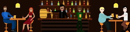 People sit in a bar drinking beer and talking bartender pouring beer two friends, black man in foreground, couple of lovers concept design for website for designers Stock Illustratie