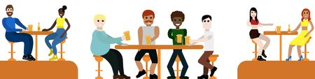 People sit in a bar drinking beer and talking two girlfriends, a company of cheers friends, a couple of lovers, isolated against a white background conceptual design for website for designers