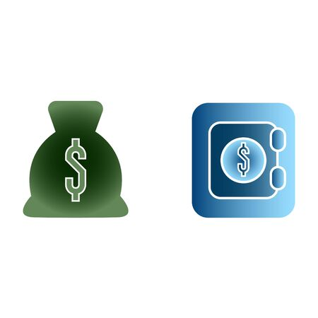 Bag with money of green color dollars and safe of blue color flat icon gradient on white background isolated vector