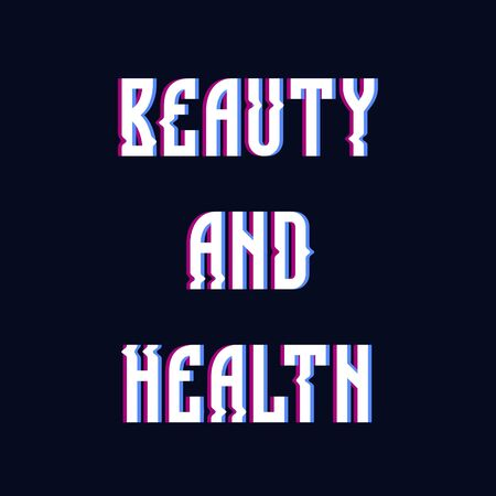 Glitch text word beauty and health on dark blue background baners, poster, design, background Иллюстрация