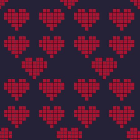 Pattern love, Valentine's Day, red heart, pixel to play squares isolated illustration