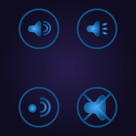 Clasic blue color sign plate stop setting and still in circle, icon, logo, sign with gradient on dark purple background for application, for game, for website