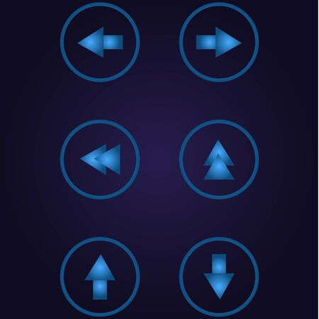 Clasic blue color arrows different in circle, icon, logo, sign with gradient on dark purple background for application, for game, for website Иллюстрация
