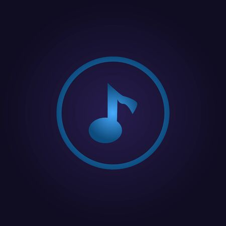 Clasic blue color sign music melody in circle, icon, logo, sign with gradient on dark purple background for application, for game, for website Illusztráció