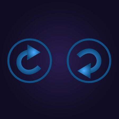 Clasic blue color arrow back, next in circle, icon, logo, sign with gradient on dark purple background for application, for game, for website Banque d'images - 137764800