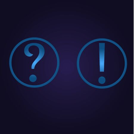 Clasic blue color question and exclamation point in circle, icon, logo, sign with gradient on dark purple background for application, for game, for website