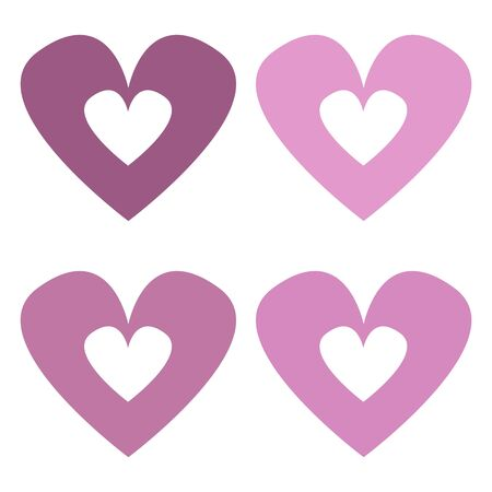 Love, Valentine's Day, 4 pink hearts of different features on white background, isolated illustration