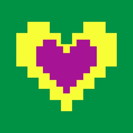 Love, Valentine's Day, yellow with purple heart on green background pixel for playing of squares isolated vector