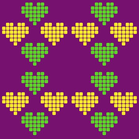 Pattern love, Valentine's day, yellow with green heart on purple background pixel for playing of squares isolated vector