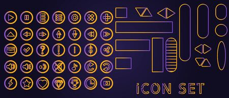 Set of ui icons and gui buttons for 2D game, app, video menu and interface, pink and blue with rounded and right angle vector illustration 向量圖像
