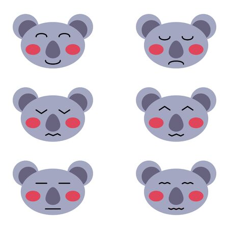 set of cute koala isolated on white background for print cards childrens kid illustration