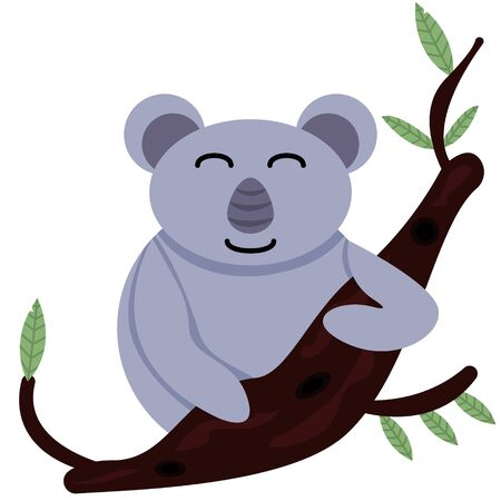 Happy and kind koala smiling sits on tree branch with pink cheeks isolated on white background for postcards to print childrens illustration