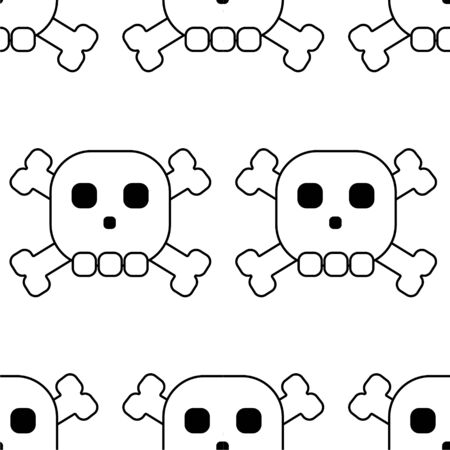 Seamless pattern of skulls with bones, rock pattern, outline black white, coloring, prin for background white background