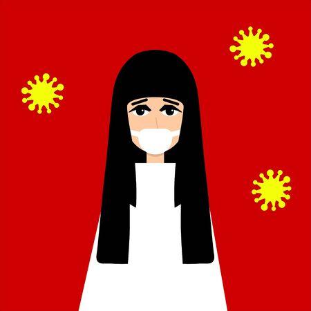 Coronavirus. Novel coronavirus 2019-nCoV. Asian girl in white medical face mask and white clothes, sick bacteria and virus. Coronavirus quarantine