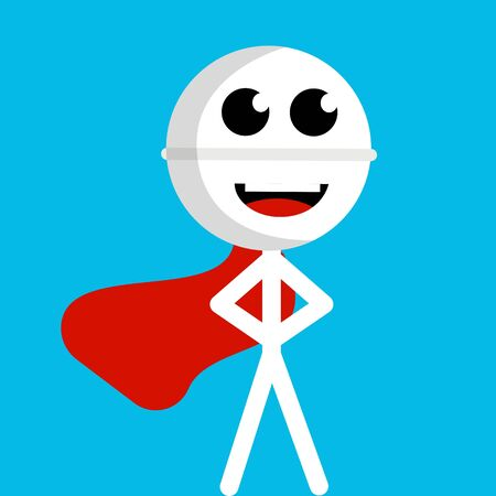 Pill superhero with a red cloak that develops in the air on a blue background drawn