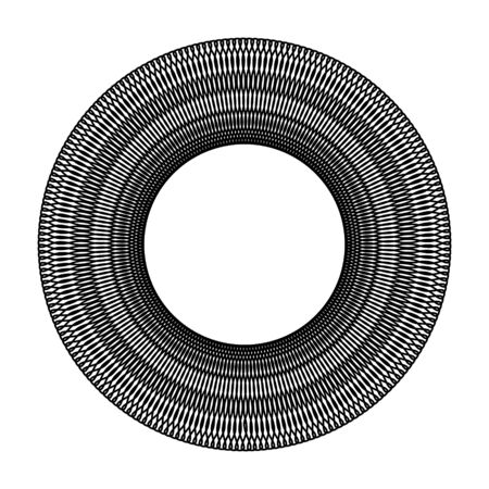 Black circle deformed black hole black white sketch on white background for design and printing graphic