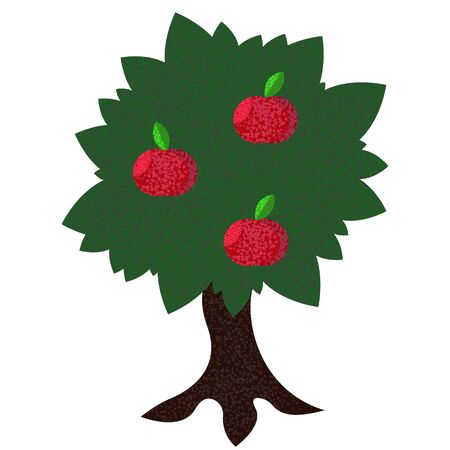 Apple tree with 3 red apples flat with noise vector illustration Fresh and juicy on white background 向量圖像