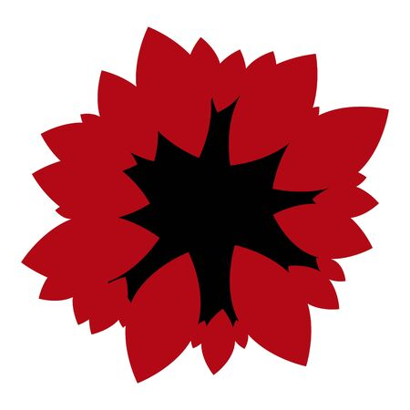 Red flower with black inside on white background graphic element print careless not semetric 向量圖像