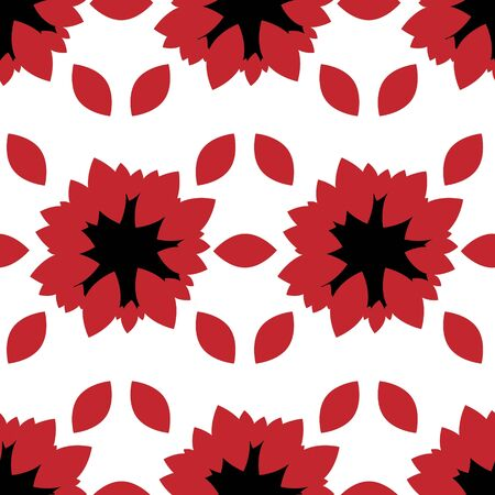 Seamless pattern of black red colors on a white background exotic with red lozenges 向量圖像